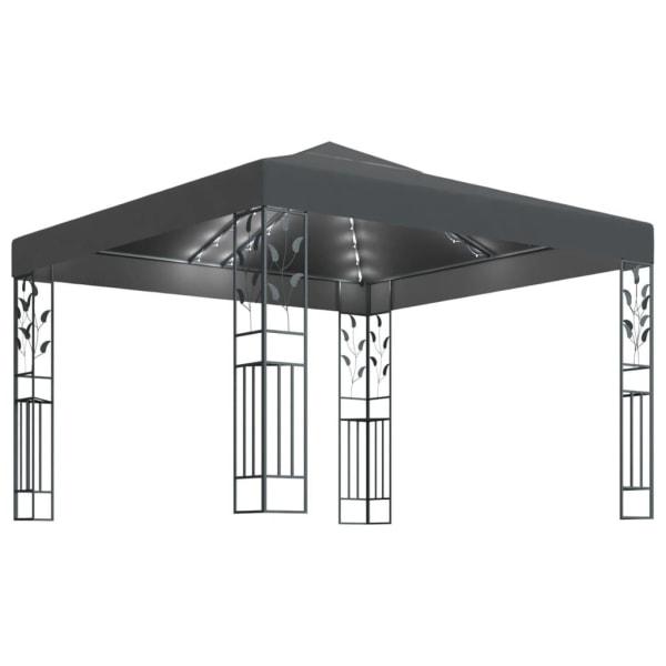 vidaXL Paviljong med ljusslinga 3x3 m antracit Antracit