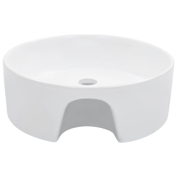 vidaXL Handfat med bräddavlopp 36x13 cm keramik vit Vit