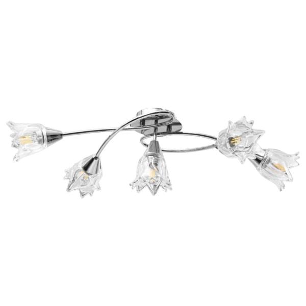 vidaXL Taklampa med transparenta glasskärmar för 5 E14-lampor tu Transparent