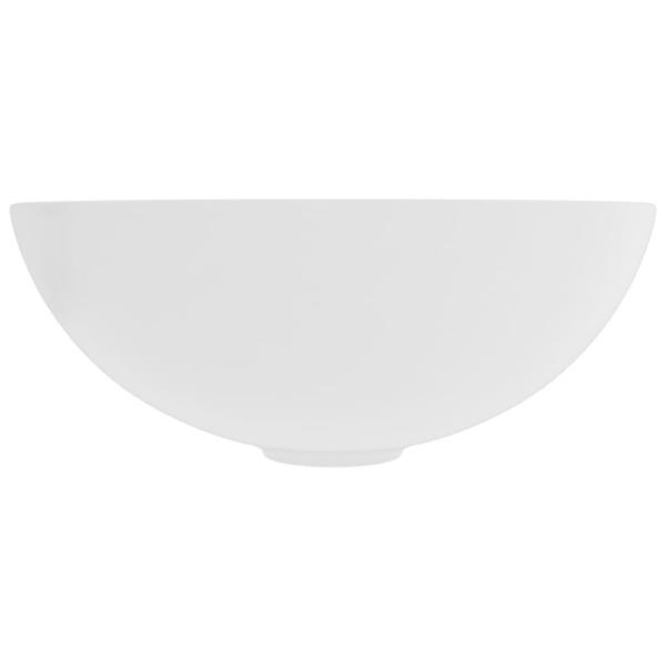 vidaXL Handfat keramik matt vit rund Vit