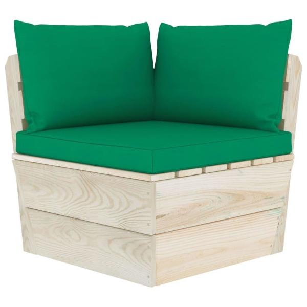 vidaXL Pallsoffa för trädgården med dynor 5 delar granträ Grön