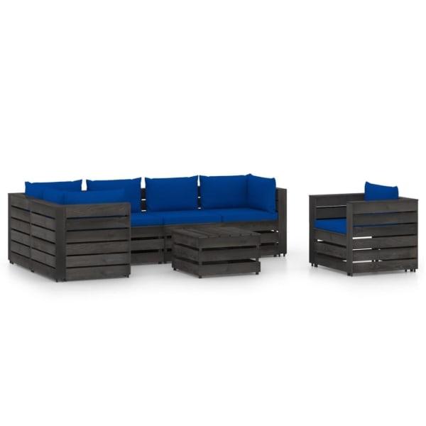 vidaXL Loungegrupp med dynor 7 delar grå impregnerat trä