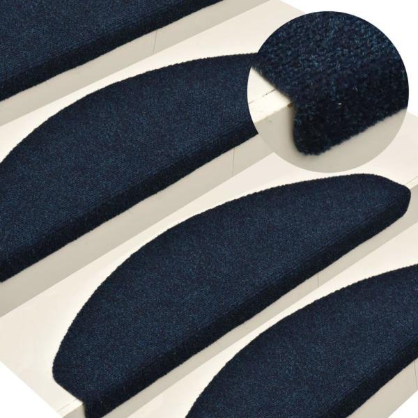 vidaXL Trappstegsmattor självhäftande 15 st marinblå 56x17x3 cm Blå