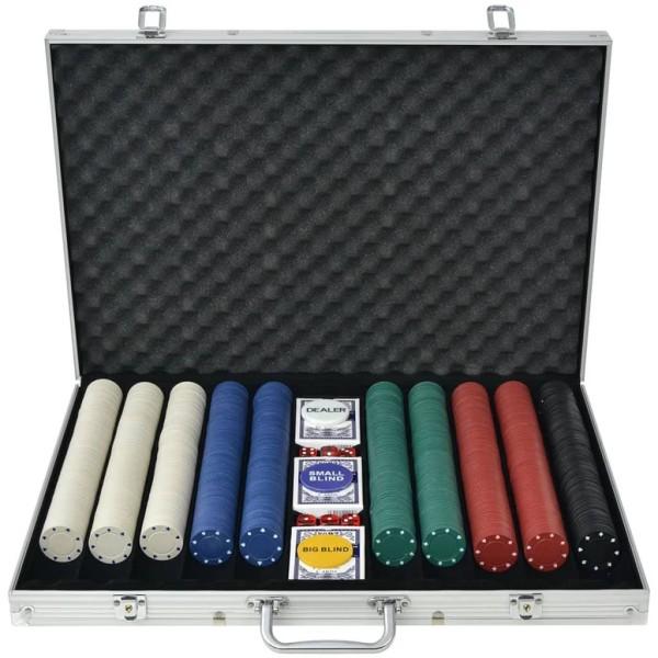 vidaXL Pokerset med 1000 marker aluminium Flerfärgsdesign