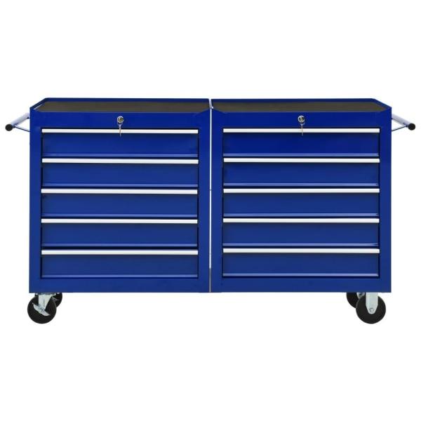 vidaXL Verktygsvagn med 10 lådor stål blå Blå