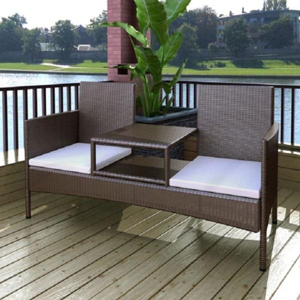 vidaXL Trädgårdssoffa 2-sits med bord konstrotting brun Brun