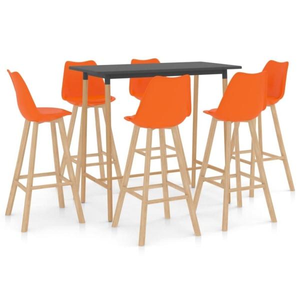 vidaXL Bargrupp 7 delar orange Orange