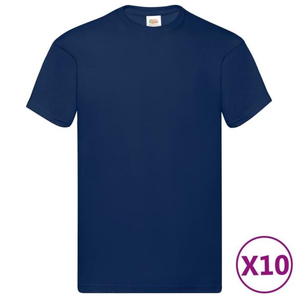 Fruit of the Loom Original t-shirt 10-pack marinblå stl. 3XL bom Blå