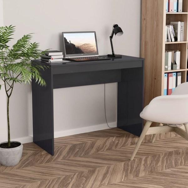 vidaXL Skrivbord grå högglans 90x40x72 cm spånskiva Grå