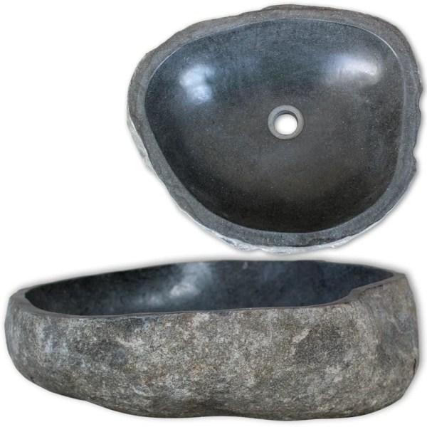 vidaXL Handfat flodsten oval 46-52 cm Gr\u00e5