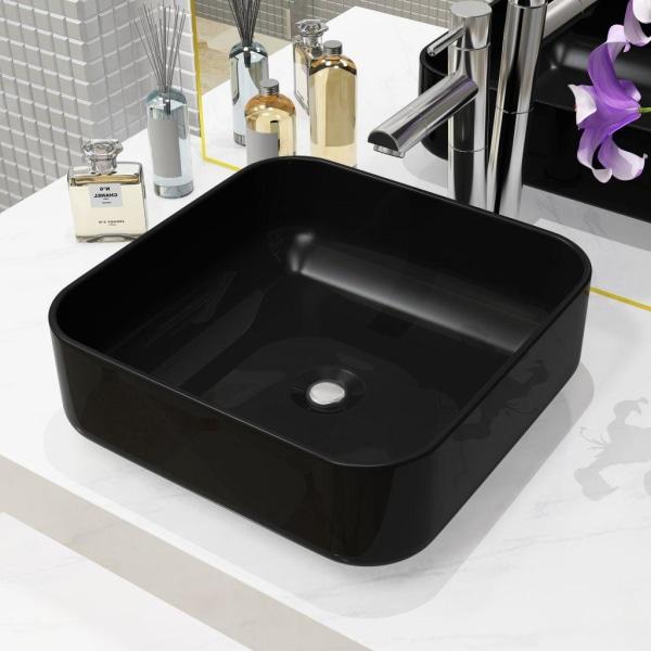 vidaXL Handfat keramik fyrkantig svart 38x38x13,5 cm Svart