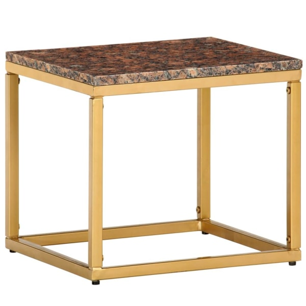vidaXL Soffbord brun 40x40x35 cm äkta sten med marmorstruktur Brun