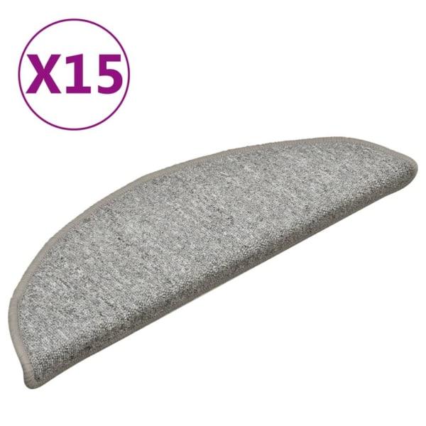 vidaXL Trappstegsmattor 15 st ljusgrå 56x17x3 cm Grå