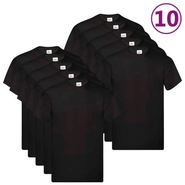 Fruit of the Loom Original T-shirt 10-pack svart stl. 3XL bomull Svart