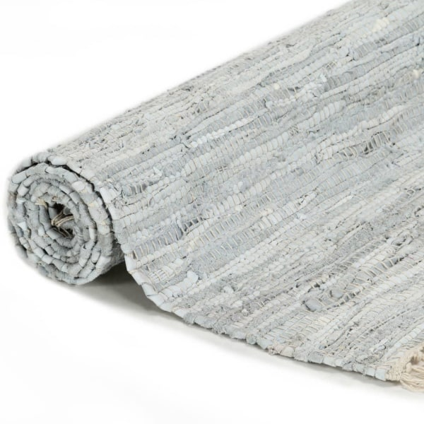 vidaXL Handvävd matta Chindi läder 80x160 cm ljusgrå Grå