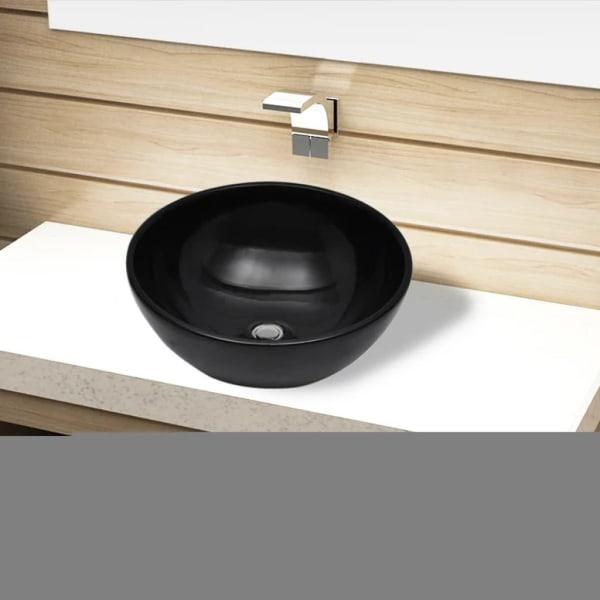 vidaXL Handfat i svart keramik rund Svart