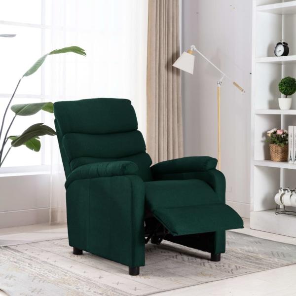 vidaXL Reclinerfåtölj mörkgrön tyg Grön