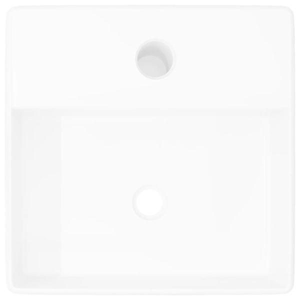 vidaXL Handfat i keramik med kranhål vit fyrkantig Vit