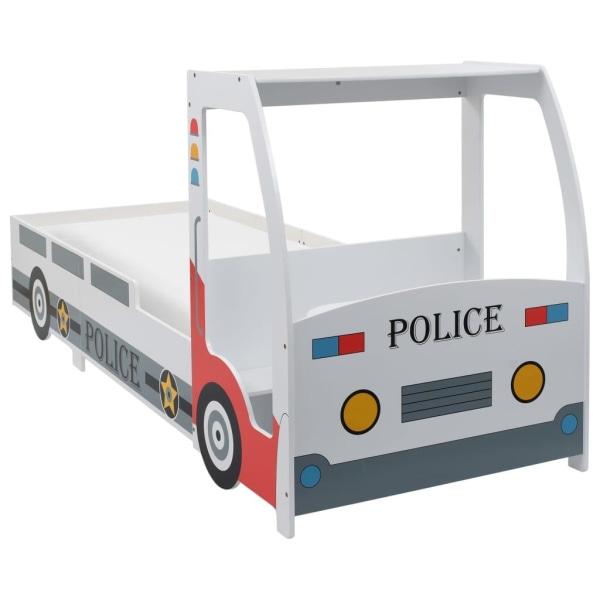 vidaXL Barnsäng polisbil med skrivbord 90x200 cm Flerfärgsdesign