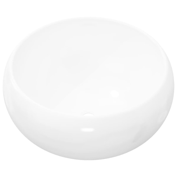 vidaXL Handfat rund keramik vit 40x15 cm Vit