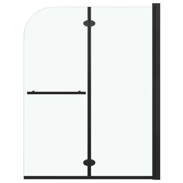 vidaXL Duschvägg fällbar 2 paneler ESG 95x140 cm svart