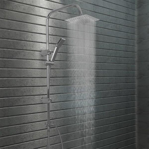 vidaXL Dusch med handdusch rostfritt stål Silver