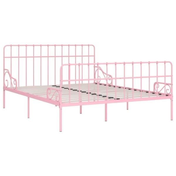 vidaXL Sängram med ribbotten rosa metall 200x200 cm Rosa