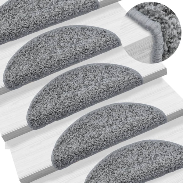 vidaXL 15 st Trappstegsmattor grå 56x20 cm Grå