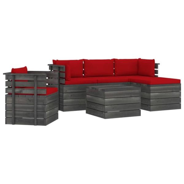 vidaXL Pallsoffgrupp med dynor 6 delar massiv furu Röd