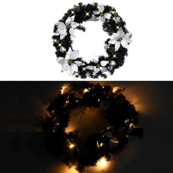vidaXL Julkrans med LED svart 60 cm PVC Svart