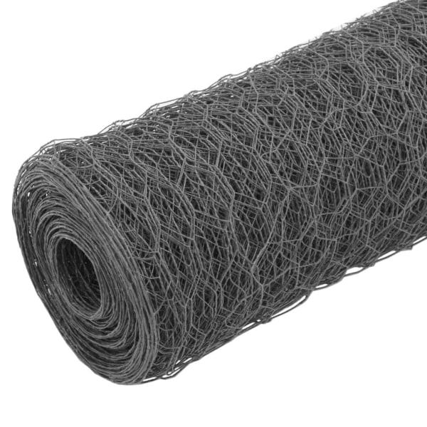 vidaXL Hönsnät stål med PVC-beläggning 25x0,75 m grå Grå