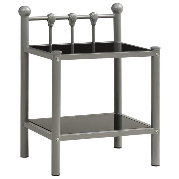 vidaXL Nattduksbord 2 st grå och svart metall och glas