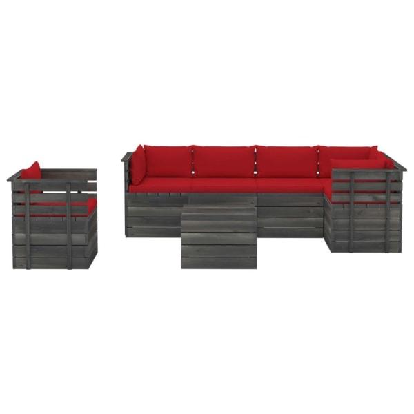 vidaXL Pallsoffgrupp med dynor 7 delar massiv furu Röd