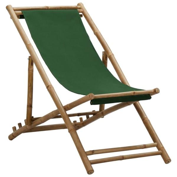 vidaXL Solstol bambu och kanvas grön Grön