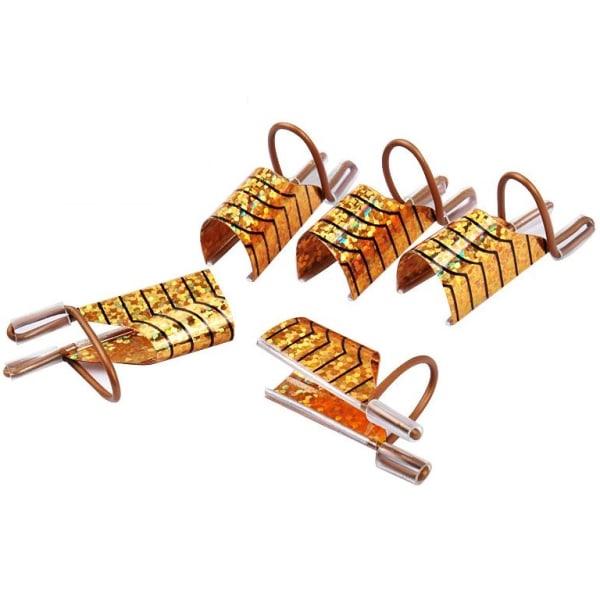 Formar för nagelförlängning med mall - 5 st - Färg: Guld