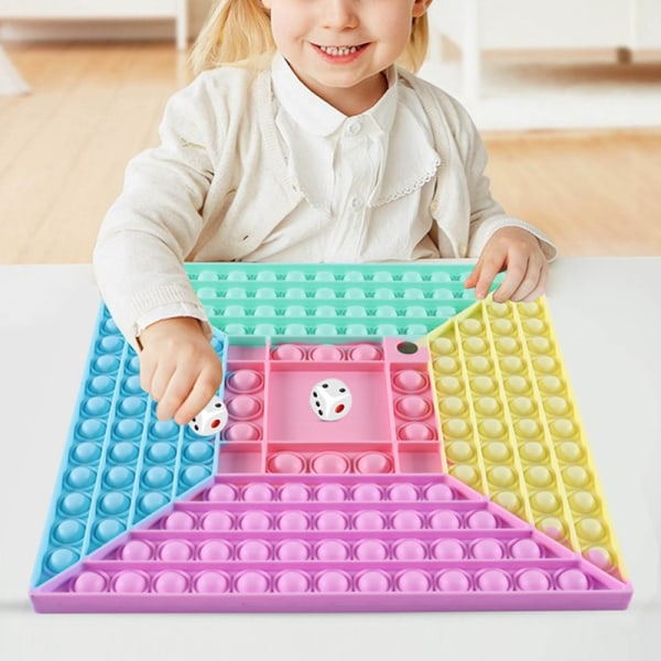 Stor fyrkantig Rainbow Pop it Fidget sensoriska leksaker