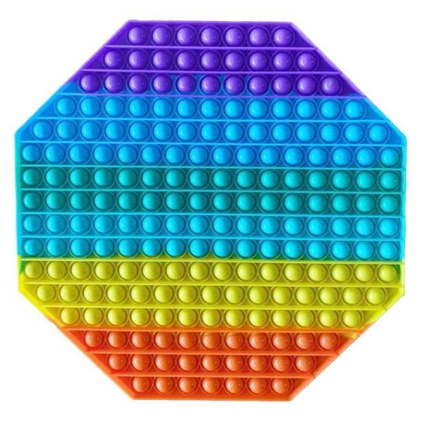 Stor, Pop it Fidget sensorisk leksak, stressavlastningsleksak flerfärgad