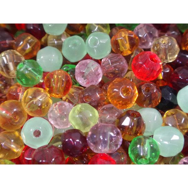 200st Facetterade Glaspärlor 4mm - Blandade Färger flerfärgad 4 mm