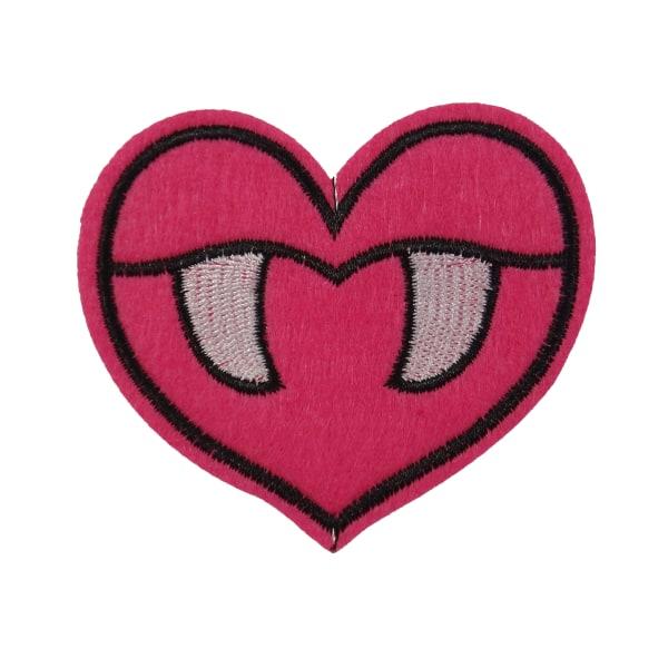 6st Tygmärken - Hjärta - Storlek 8,7cm rosa 87 mm