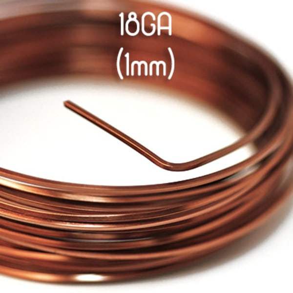 Fyrkantig non-tarnish antique copper wire, 18GA (1mm grov)