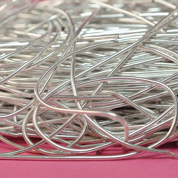 Mjuk cannetille wire för pärlbroderier, 1mm grov, silver, ca 35-