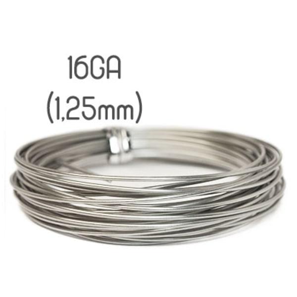Non-tarnish stainless steel wire, 16GA (1,25mm grov)