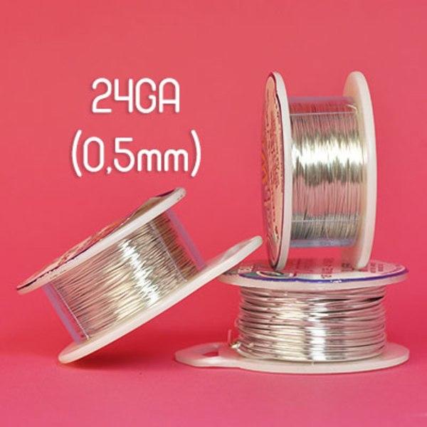 Tarnish resistant wire, silverpläterad, 24GA (0,5mm grov)
