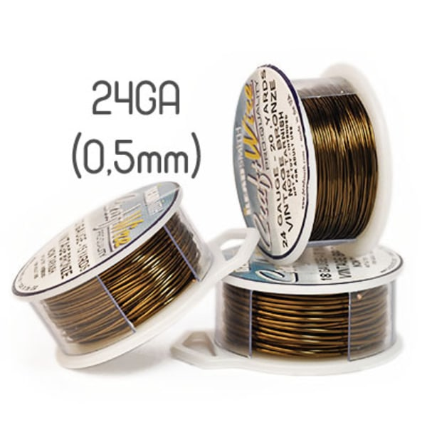 Non-tarnish vintage bronze wire, 24GA (0,5mm grov)