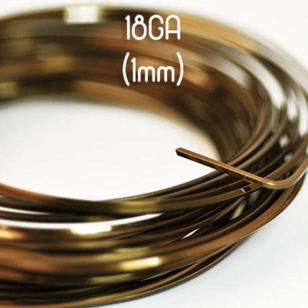 Fyrkantig non-tarnish vintage bronze wire, 18GA (1mm grov)