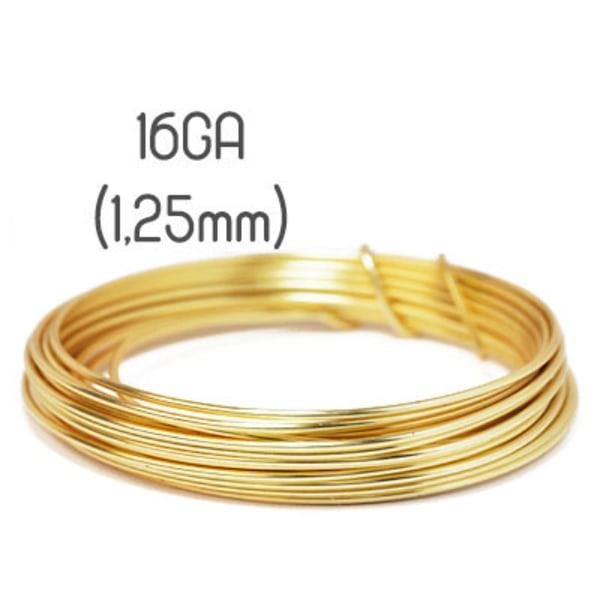 Non-tarnish gold wire, 16GA (1,25mm grov)