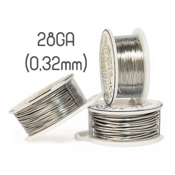 Non-tarnish stainless steel wire, 28GA (0,32mm grov)