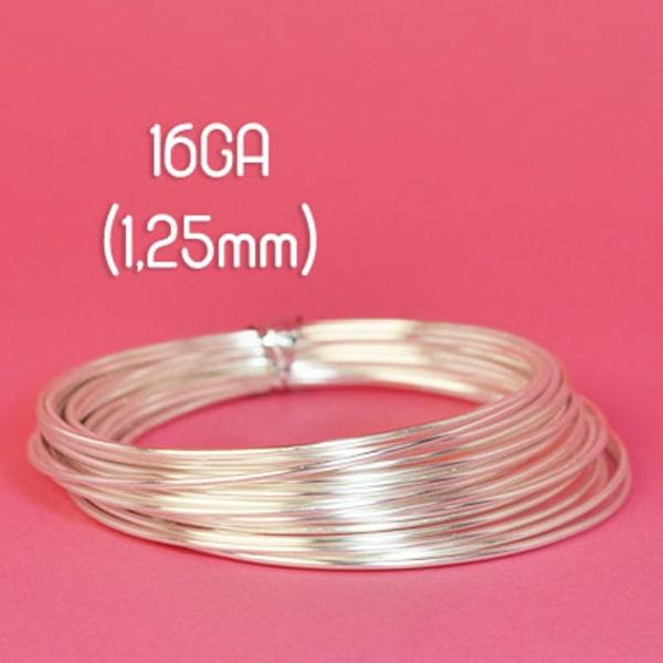 Tarnish resistant wire, silverpläterad, 16GA (1,25mm grov)