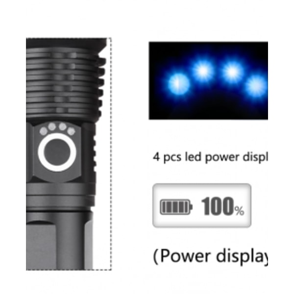 Ficklampa stark lyser 500-1000m - uppladdningsbar - aluminium