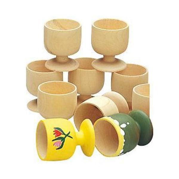 Äggkoppar, trä, höjd 65 mm, 10/fp multifärg